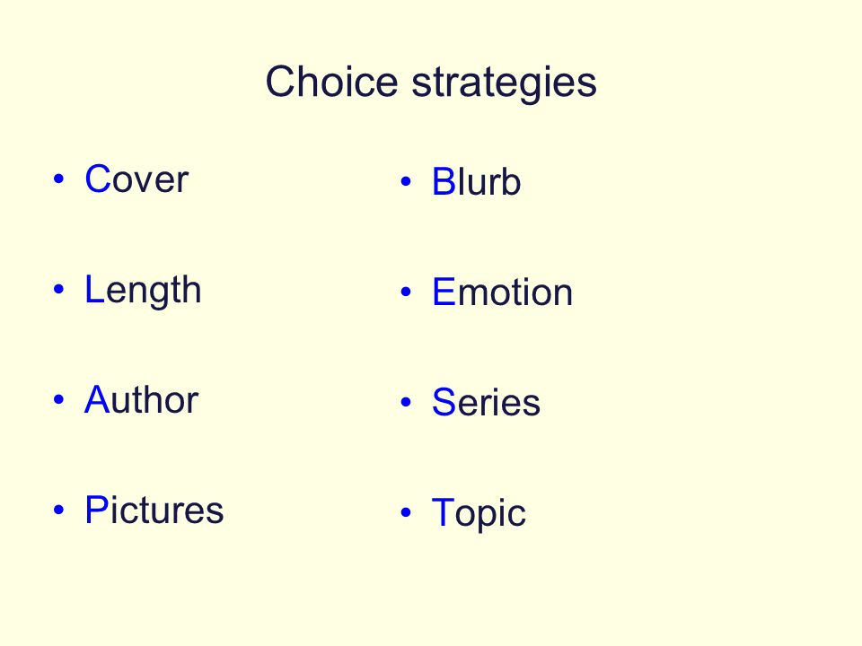 Choice strategies Cover Blurb Length Emotion Author Series Pictures