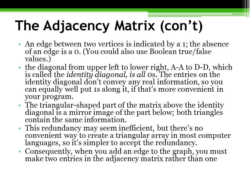 The Adjacency Matrix (con't)