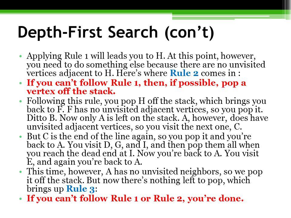 Depth-First Search (con't)