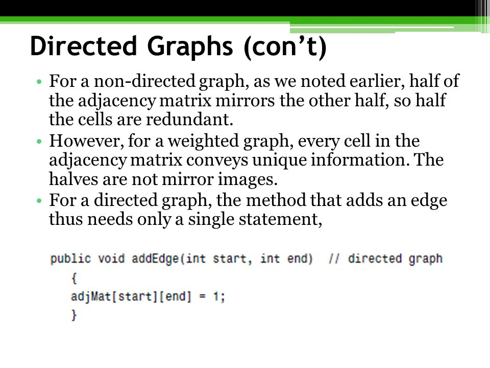 Directed Graphs (con't)