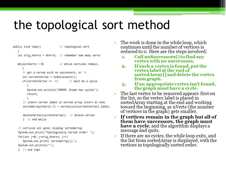 the topological sort method