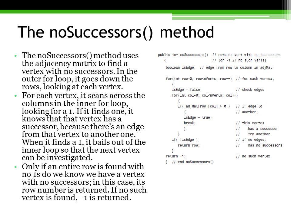 The noSuccessors() method