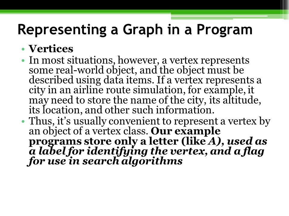 Representing a Graph in a Program