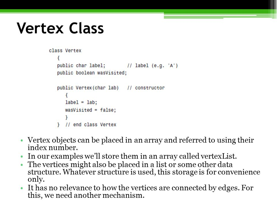 Vertex Class Vertex objects can be placed in an array and referred to using their index number.