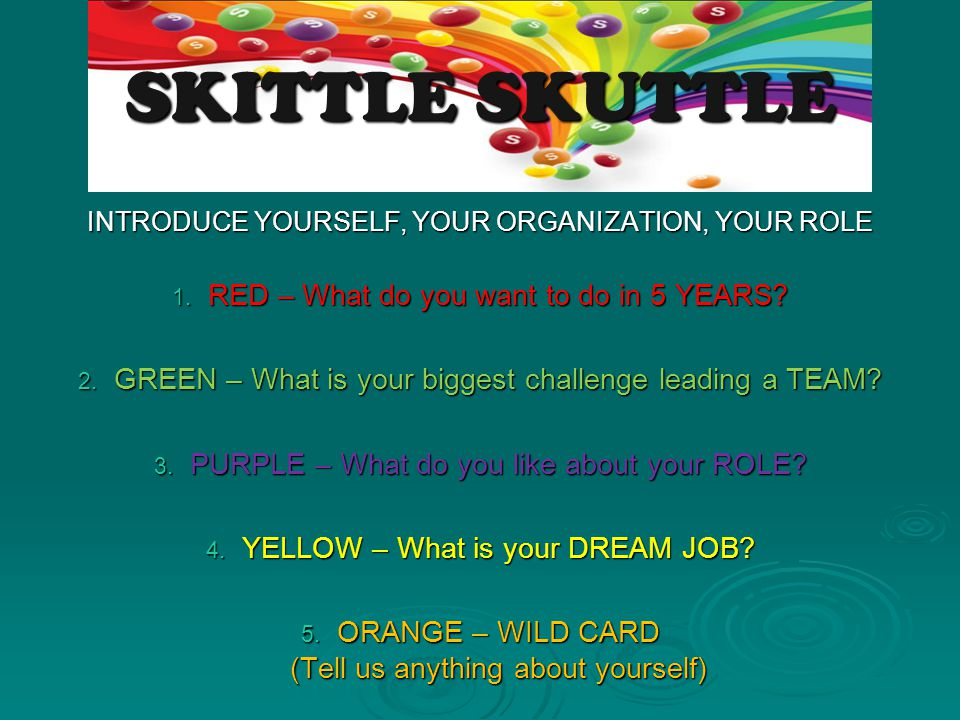 SKITTLE SKUTTLE RED – What do you want to do in 5 YEARS
