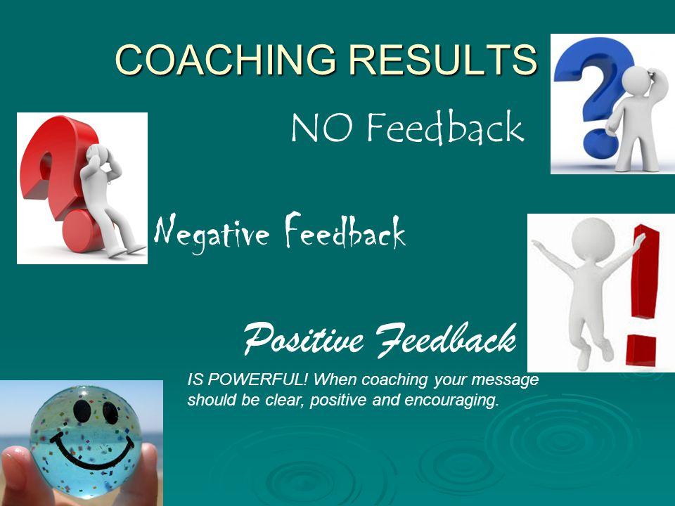 Negative Feedback Positive Feedback COACHING RESULTS NO Feedback