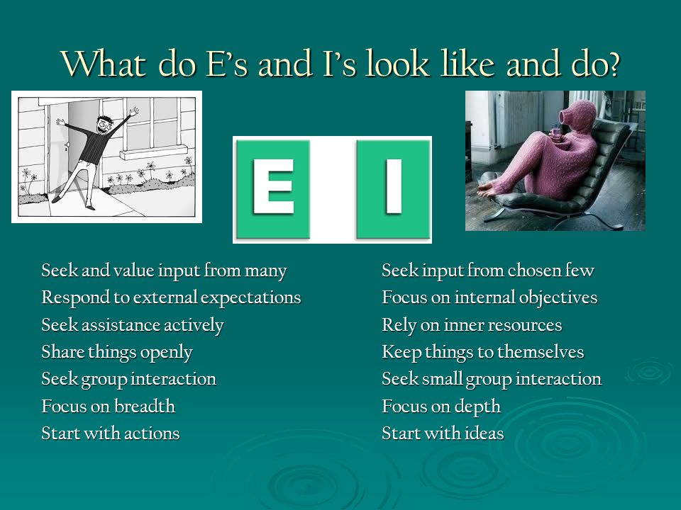 What do E's and I's look like and do