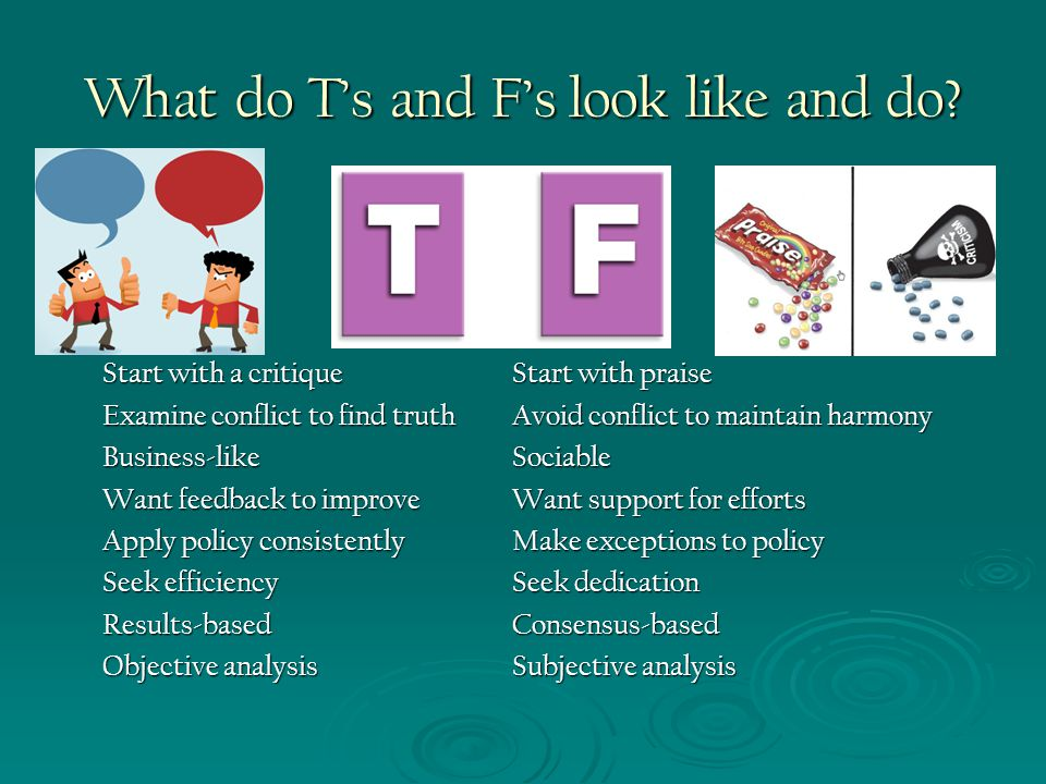 What do T's and F's look like and do