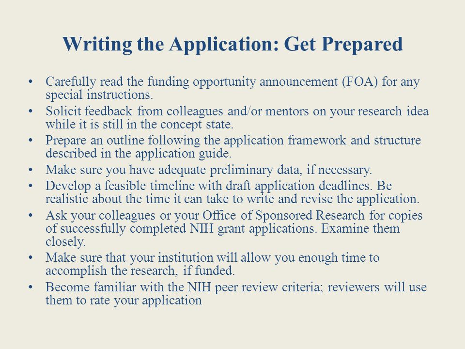 Writing the Application: Get Prepared