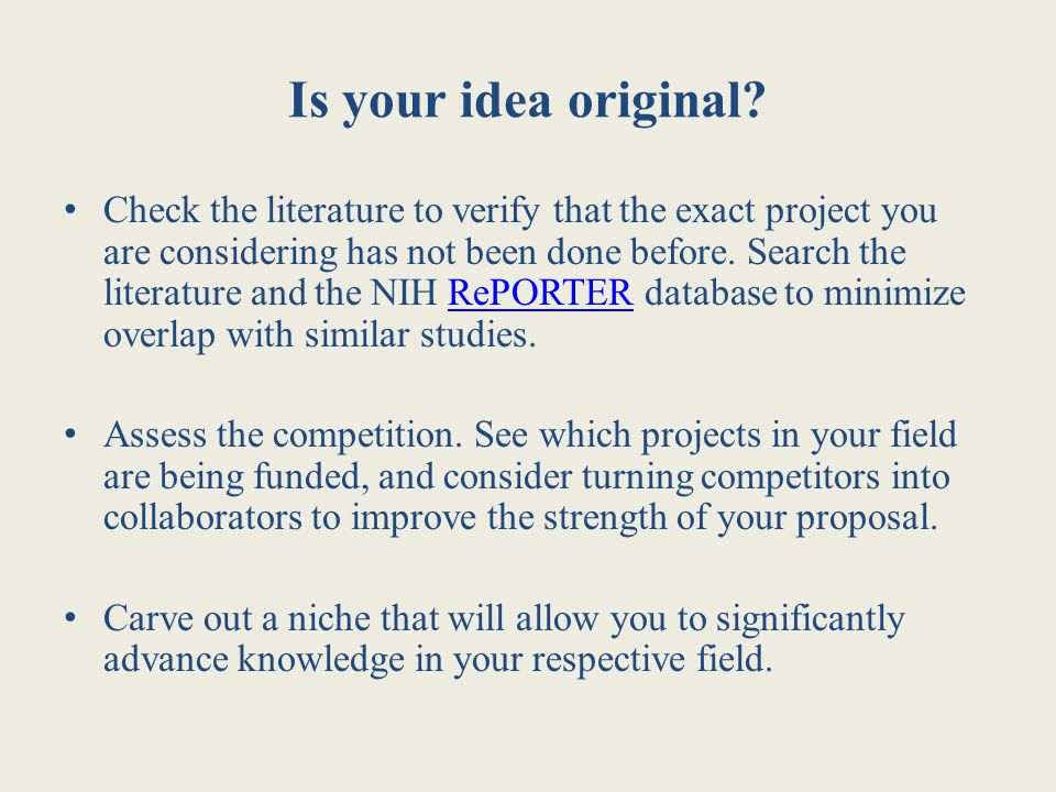 Is your idea original