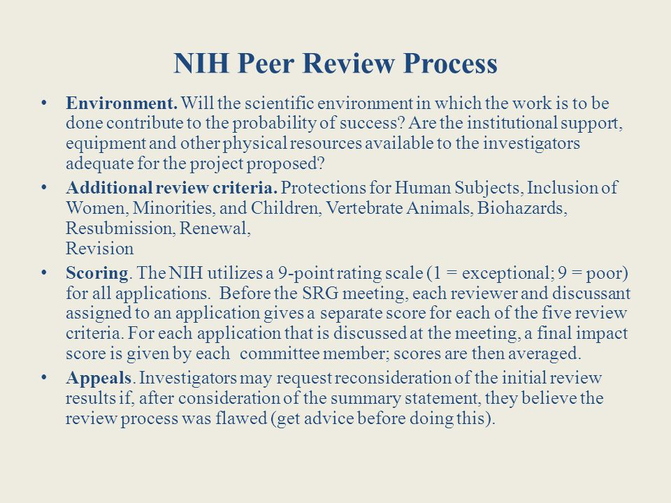 NIH Peer Review Process