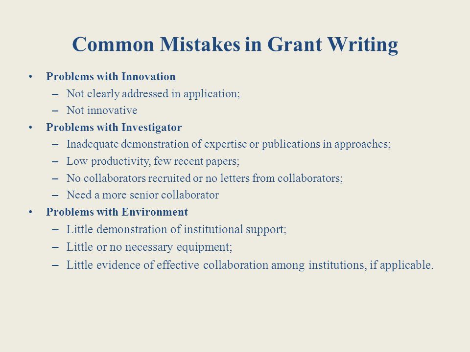Common Mistakes in Grant Writing