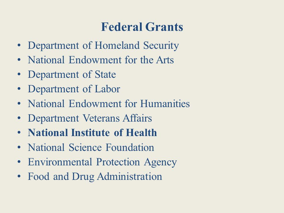 Federal Grants Department of Homeland Security