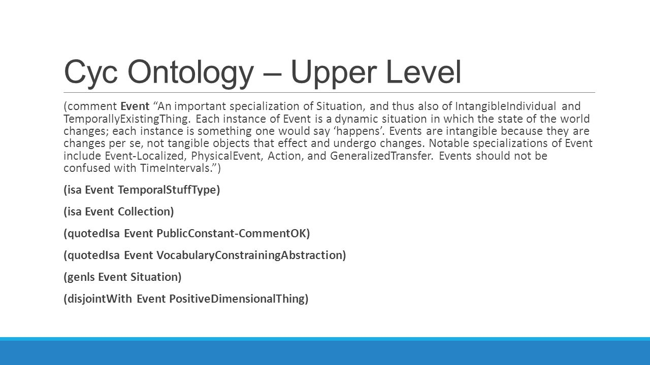 Cyc Ontology – Upper Level