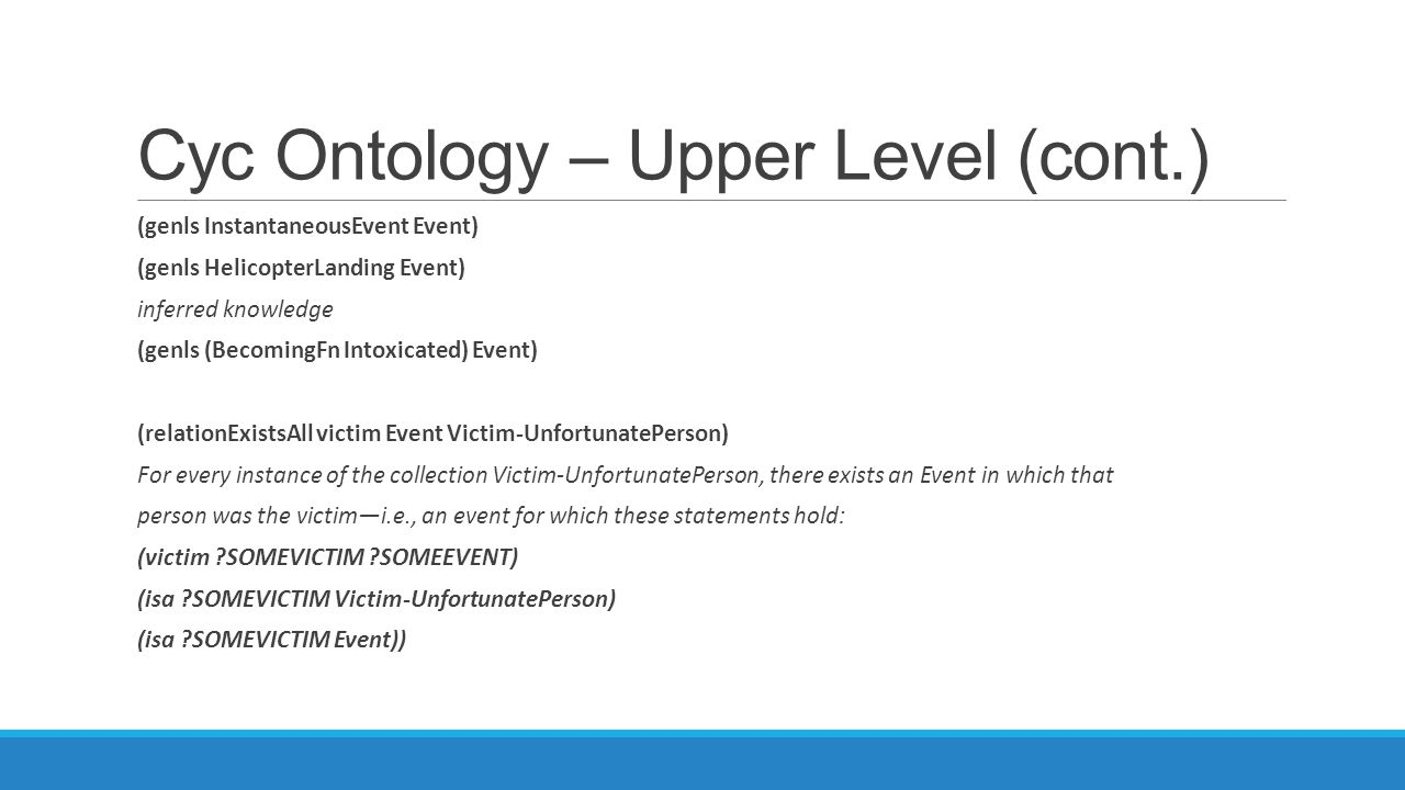 Cyc Ontology – Upper Level (cont.)