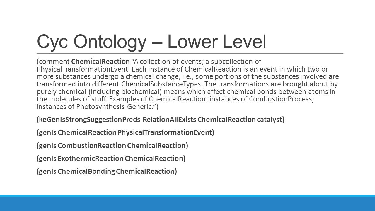 Cyc Ontology – Lower Level