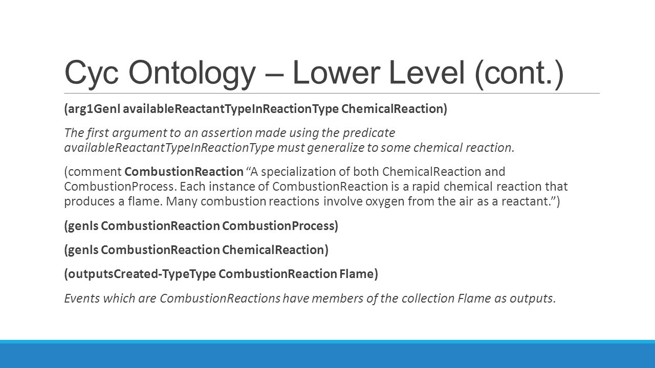 Cyc Ontology – Lower Level (cont.)