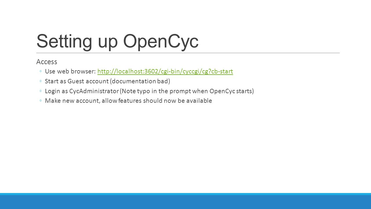 Setting up OpenCyc Access