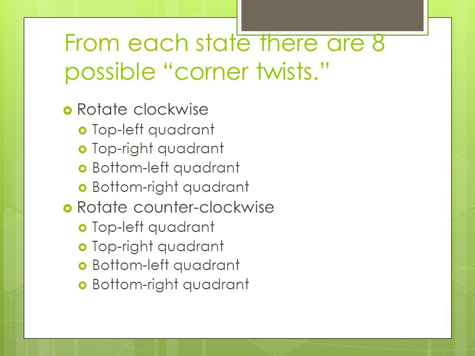 From each state there are 8 possible corner twists.