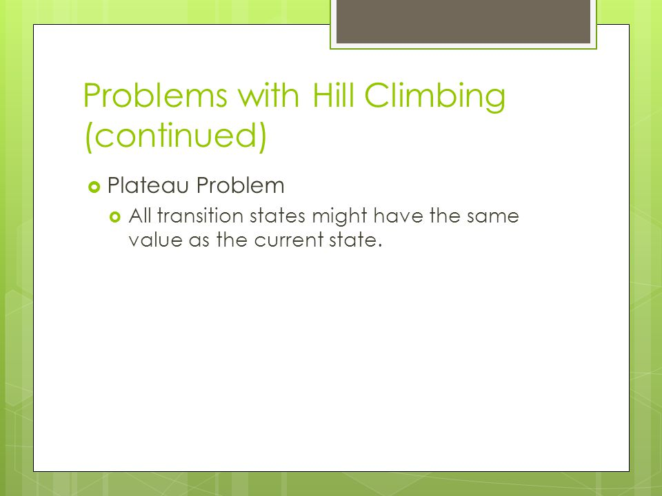 Problems with Hill Climbing (continued)