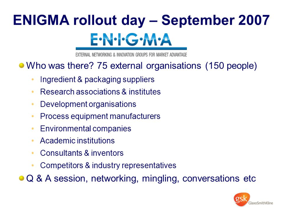 ENIGMA rollout day – September 2007