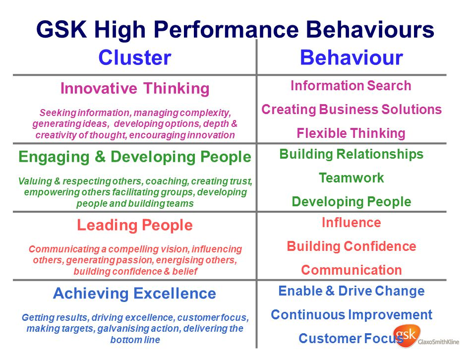 GSK High Performance Behaviours