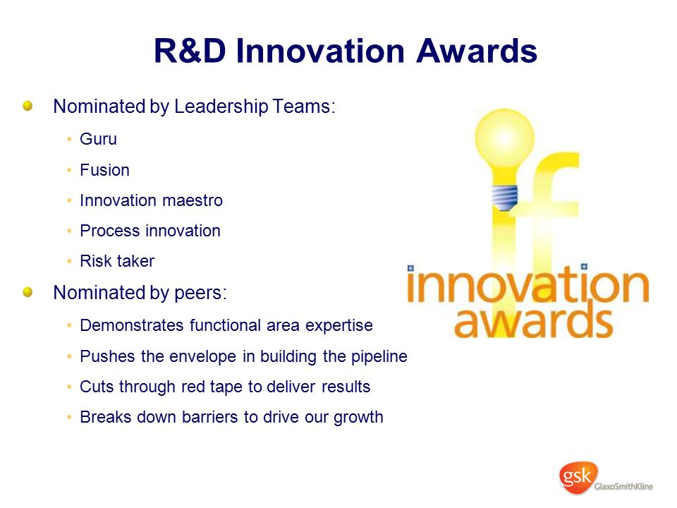 R&D Innovation Awards Nominated by Leadership Teams: