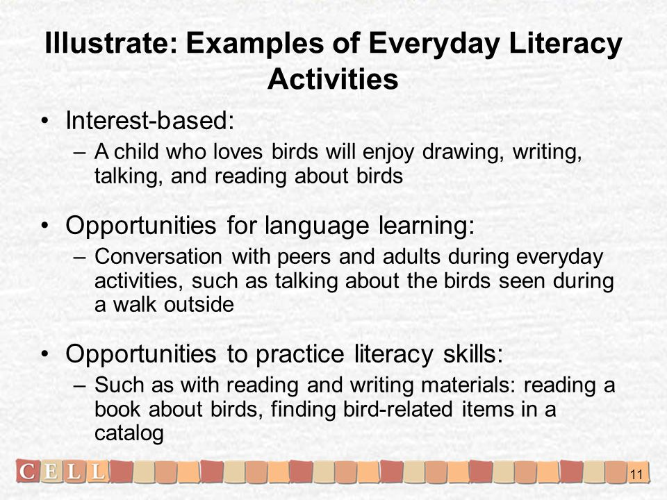 Illustrate: Examples of Everyday Literacy Activities