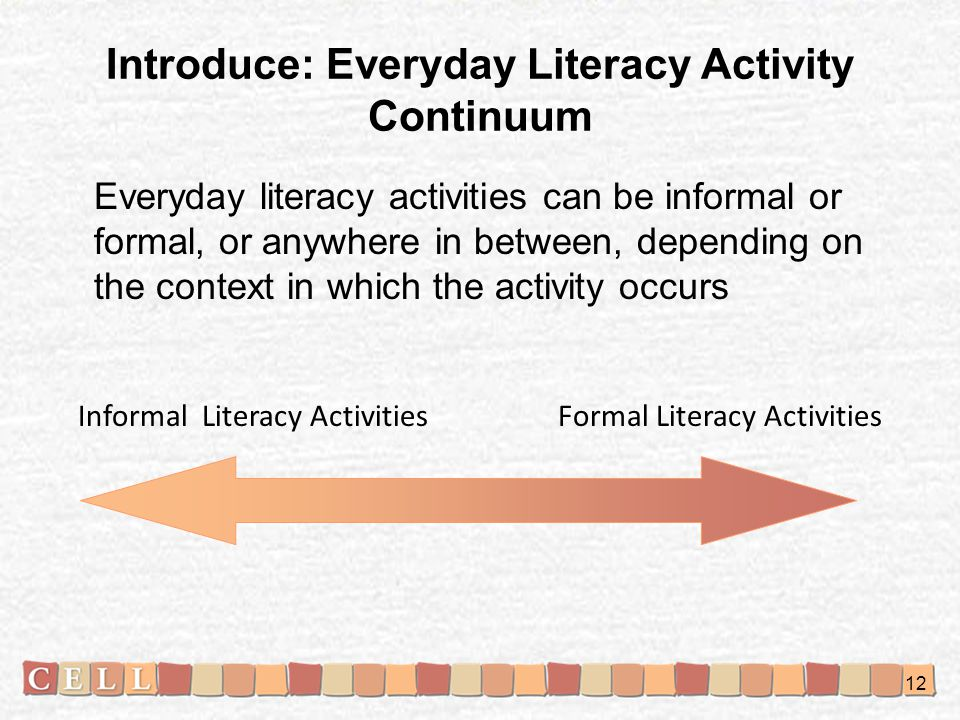 Introduce: Everyday Literacy Activity Continuum
