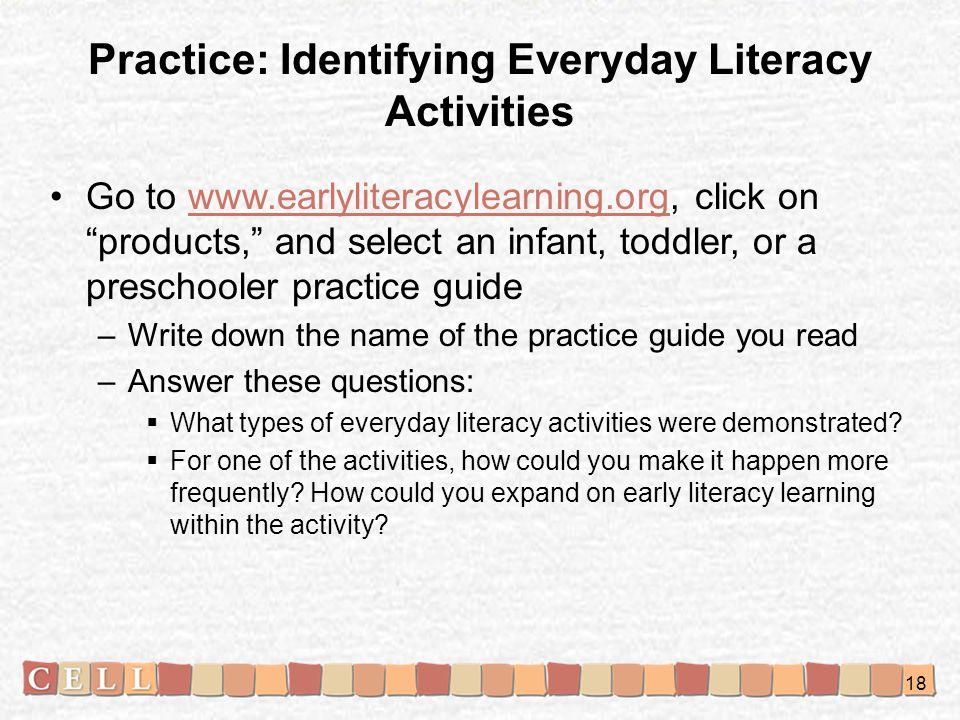 Practice: Identifying Everyday Literacy Activities