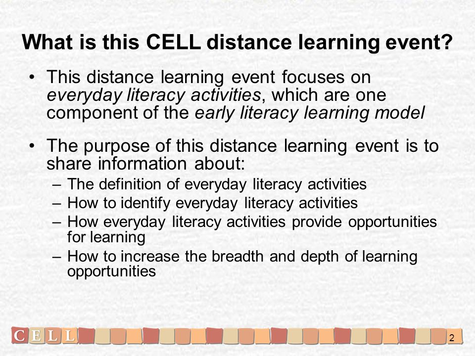 What is this CELL distance learning event