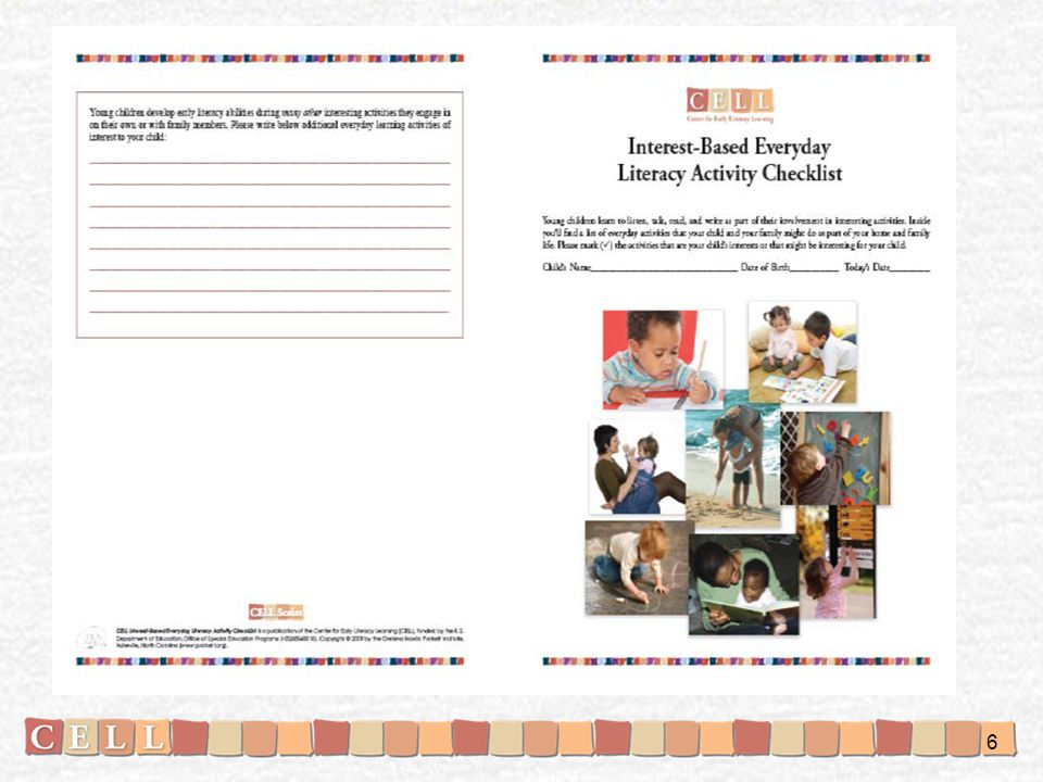 Here is the Interest-Based Everyday Literacy Activity Checklist