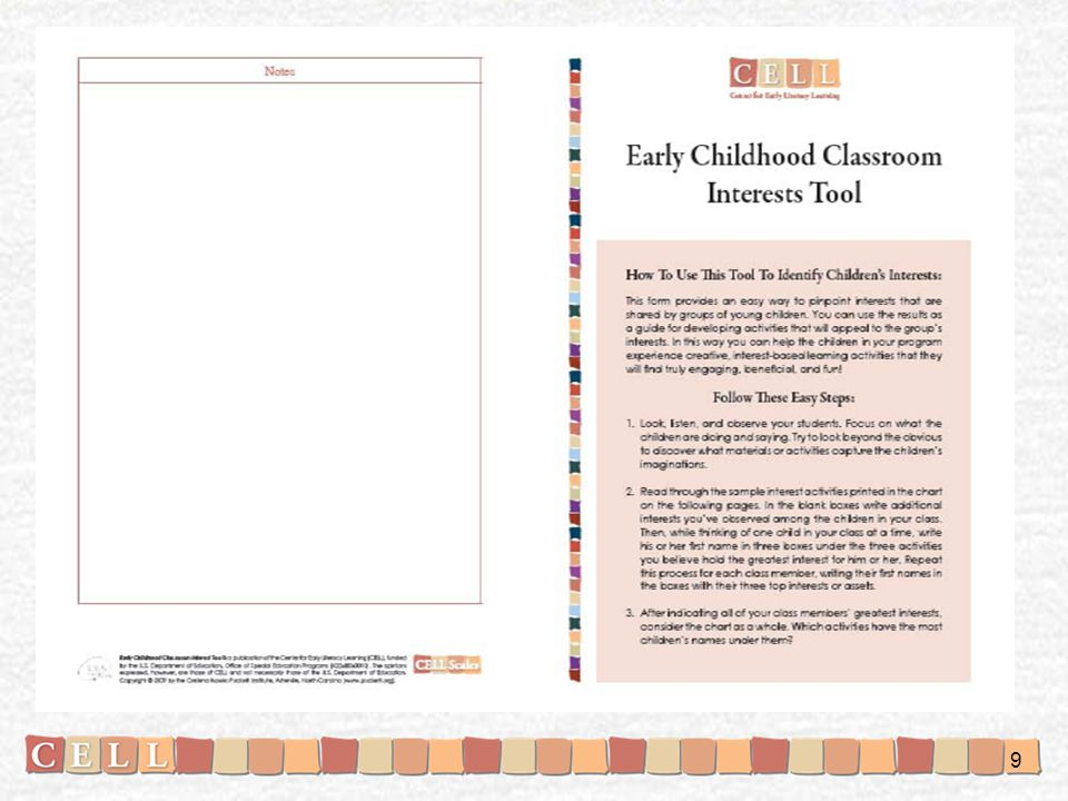 Here is the Early Childhood Classroom Interests Assessment