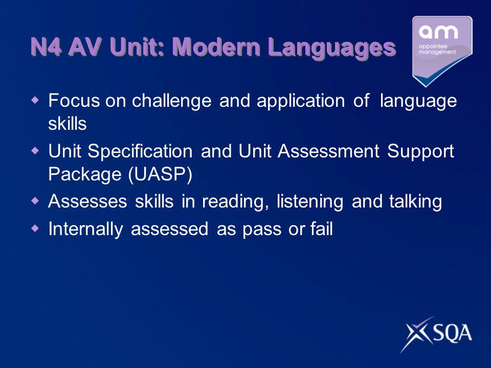 N4 AV Unit: Modern Languages