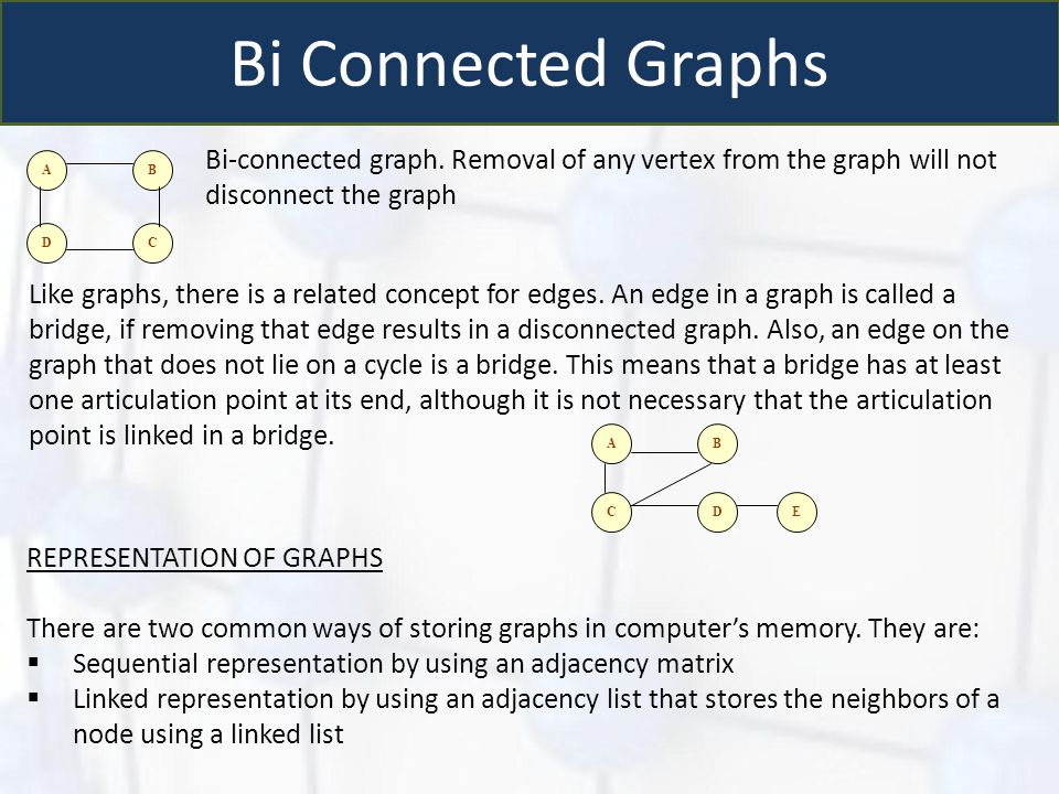 Bi Connected Graphs Bi-connected graph. Removal of any vertex from the graph will not disconnect the graph.