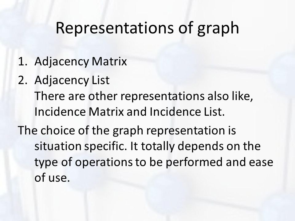 Representations of graph