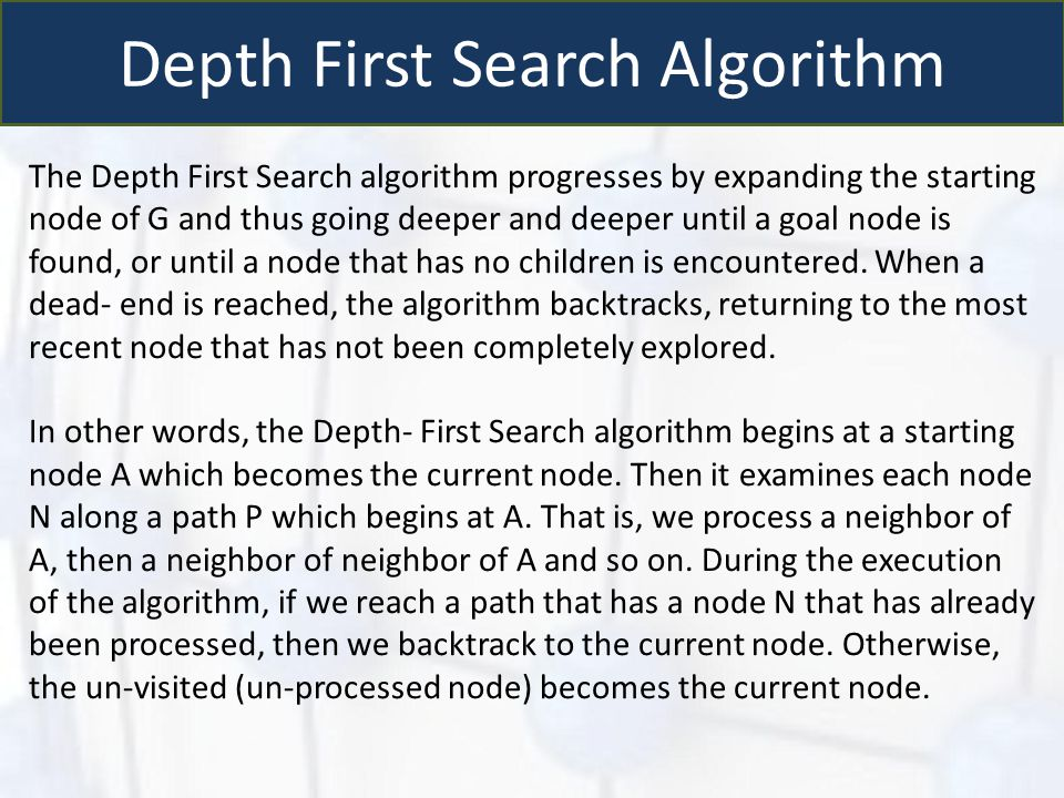 Depth First Search Algorithm