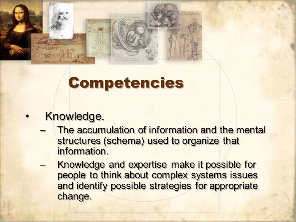 Competencies Knowledge.
