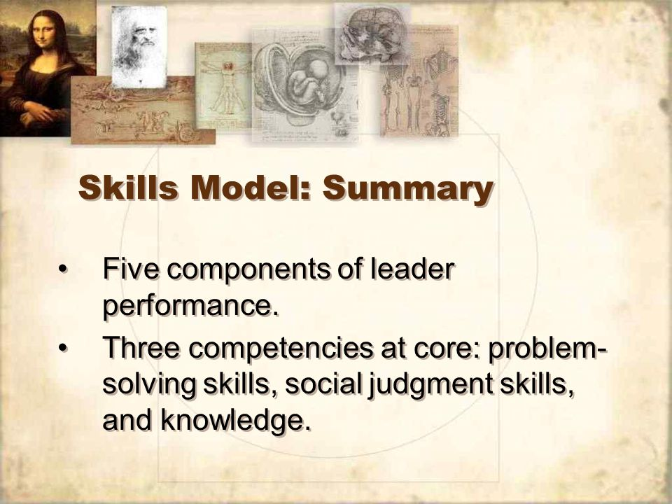 Skills Model: Summary Five components of leader performance.