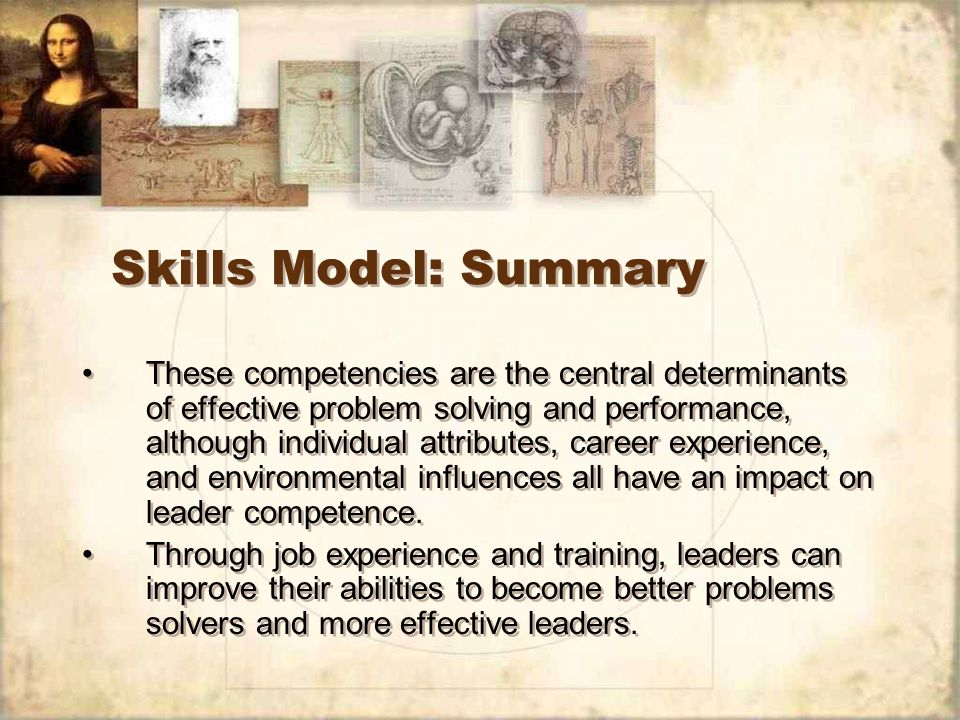 Skills Model: Summary