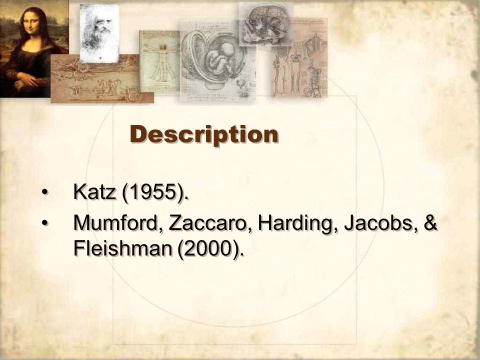 Description Katz (1955). Mumford, Zaccaro, Harding, Jacobs, & Fleishman (2000).
