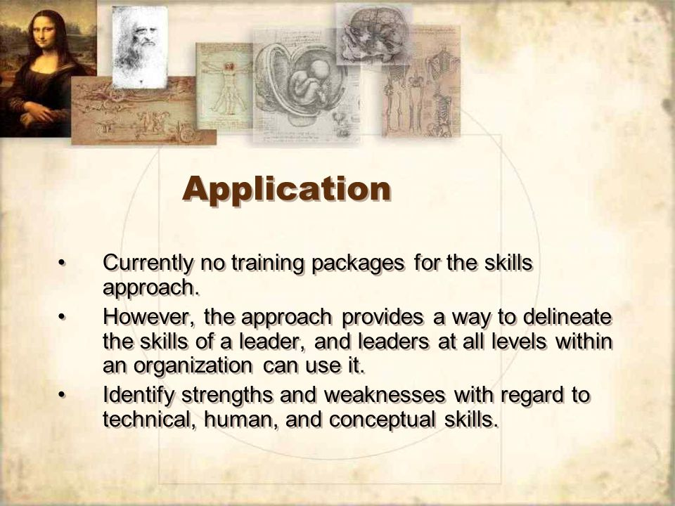 Application Currently no training packages for the skills approach.