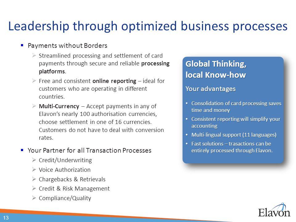 Leadership through optimized business processes