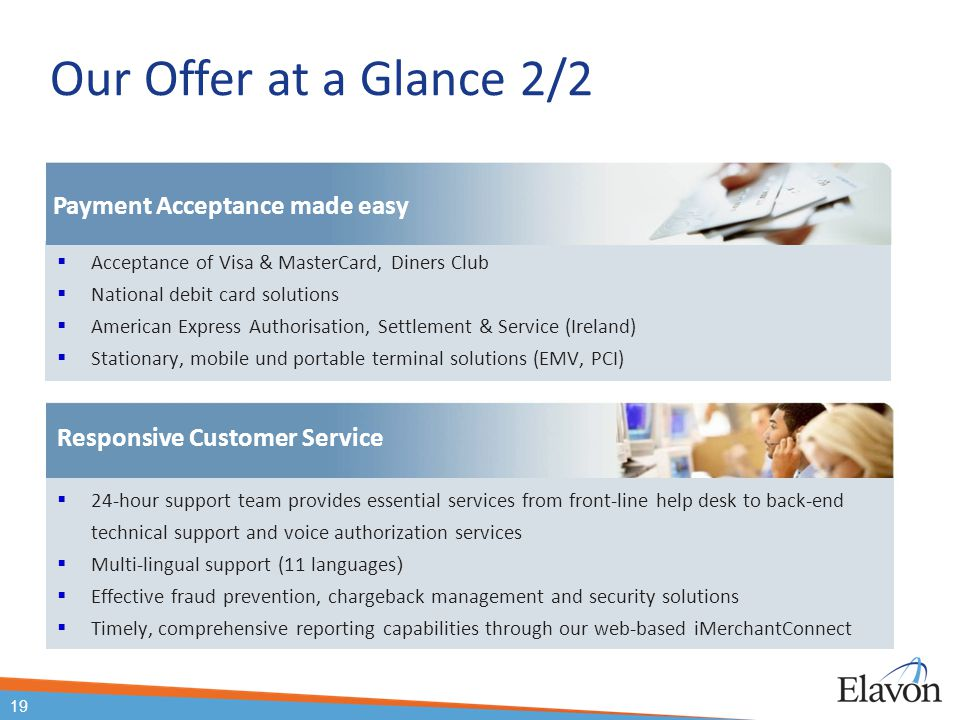 Our Offer at a Glance 2/2 Payment Acceptance made easy
