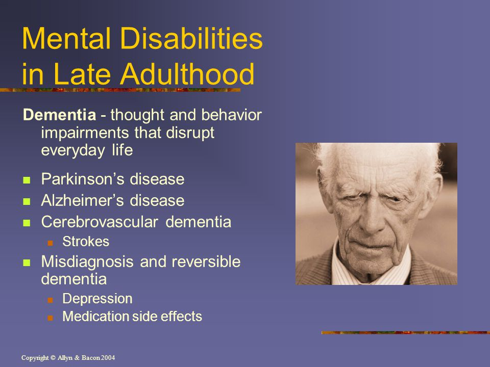 Mental Disabilities in Late Adulthood