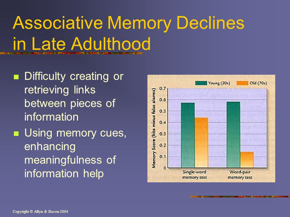 Associative Memory Declines in Late Adulthood