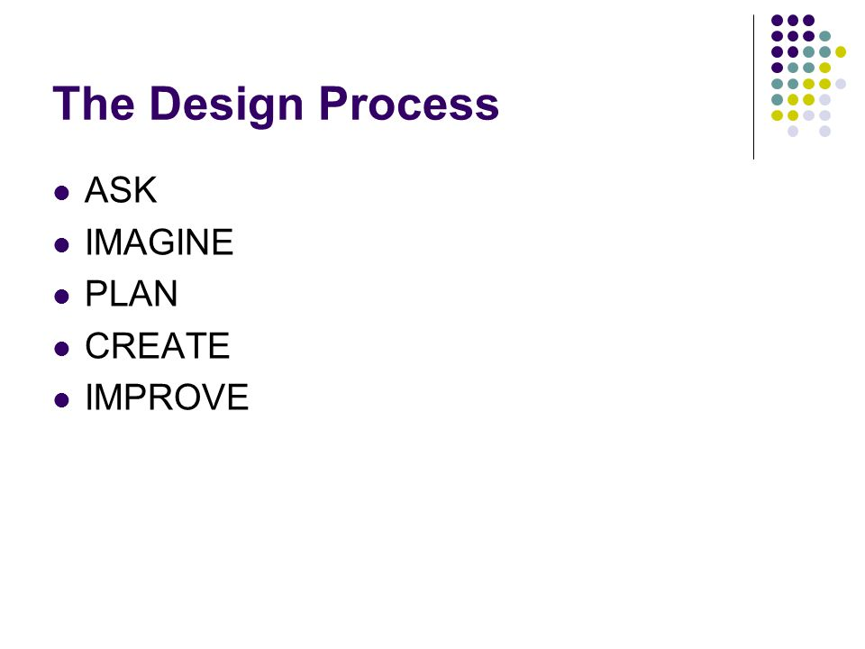 The Design Process ASK IMAGINE PLAN CREATE IMPROVE