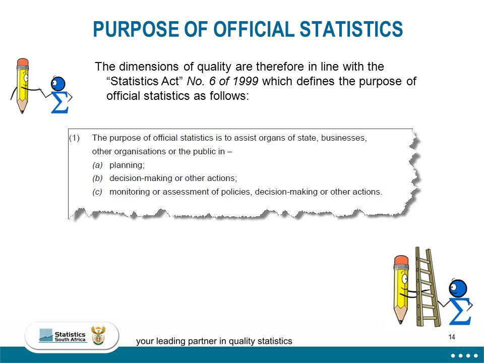 PURPOSE OF OFFICIAL STATISTICS