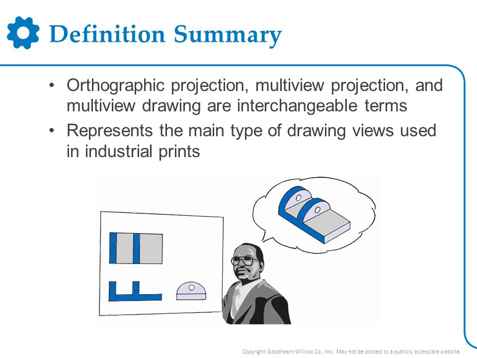 Definition Summary Orthographic projection, multiview projection, and multiview drawing are interchangeable terms.