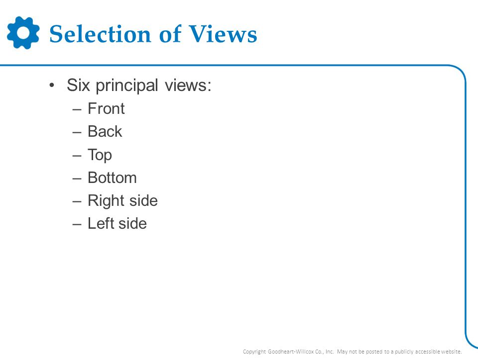 Selection of Views Six principal views: Front Back Top Bottom
